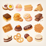 Cookies and biscuits icons set Royalty Free Stock Photo