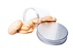 Cookies or biscuits in kitchen plastic storage container or jar Stock Photo