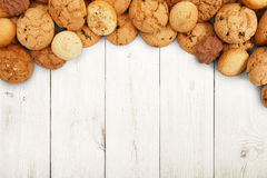 Cookies and biscuits at white wood with copy space Stock Image