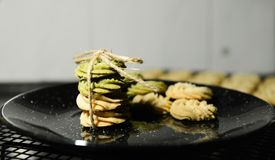Cookies on Black Marble Plate Royalty Free Stock Photos