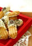 Cookies with black and white chocolate Royalty Free Stock Images