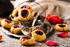 Cookies with blackcurrant jam..style rustic Royalty Free Stock Images