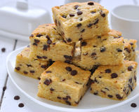 Cookies Blondies with chocolate drops Royalty Free Stock Photo