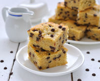 Cookies Blondies with chocolate drops Stock Photo