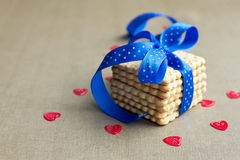 Cookies with blue ribbon Royalty Free Stock Image