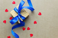 Cookies with blue ribbon Royalty Free Stock Photography