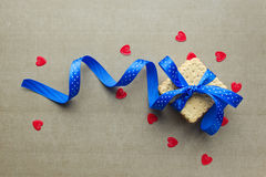 Cookies with blue ribbon Stock Images