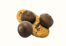 Cookies bonitas com doces de chocolate Fotografia de Stock Royalty Free