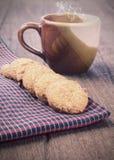 Cookies on borwn fabric Royalty Free Stock Image