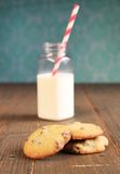 Cookies and bottle of milk Stock Photos