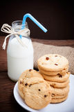 Cookies and bottle milk Royalty Free Stock Images