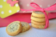 Cookies with a bow. Poppy seed cookies with a pink bow Stock Images