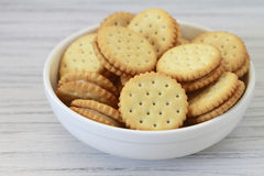 Cookies in a Bowl. Cookie sandwiches in a white bowl Royalty Free Stock Photo