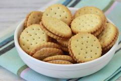 Cookies in a Bowl. Cookie sandwiches in a white bowl Royalty Free Stock Images