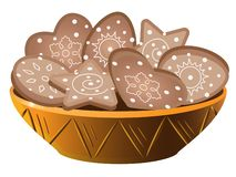 Cookies in a bowl. Gingerbread cookies with royal icing are placed on a plate. Gingerbread in the form of a circle, stars, hearts. And Easter eggs. Sweet royalty free illustration