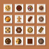 Cookies in boxes  flat style with shadow Stock Images