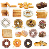 Cookies  bread  donuts  brownies on white Stock Images