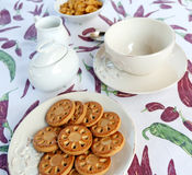 Cookies for breakfast. Set for breakfast with cereals and cookies Royalty Free Stock Photography
