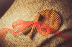 Cookies. Brown spices, cinnamon sticks, food Royalty Free Stock Photos