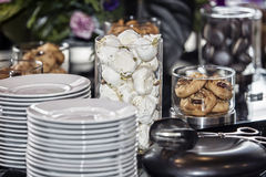 Cookies on buffet table Royalty Free Stock Image