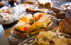 Cookies, cakes and other confectionary in cafe Royalty Free Stock Image