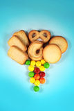 Cookies. And Candies in colorful background Stock Photography