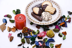 Cookies, Candle, Dried Petals Stock Photos
