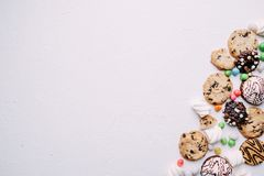 Cookies and candy background, confectionery design stock images