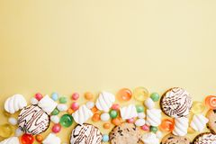 Cookies and candy background, confectionery design royalty free stock photography