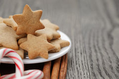Cookies, candy canes and spices for christmas Royalty Free Stock Image