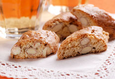 Cookies cantucci and Italian wine Royalty Free Stock Image