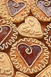 Cookies with caramel in the shape of heart Royalty Free Stock Image