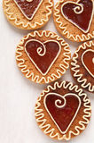 Cookies with caramel in the shape of heart Stock Photo