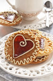 Cookies with caramel in the shape of heart Stock Photos