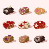 Cookies of Cartoon Vector Food Icons Royalty Free Stock Photography