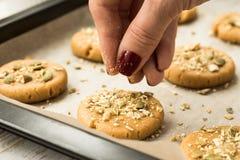 Cookies caseiros da abóbora com sementes Imagem de Stock Royalty Free