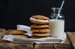 Cookies caseiros da torta de creme da farinha de aveia Foto de Stock Royalty Free