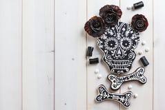 Cookies caseiros do crânio para Dia das Bruxas Fotografia de Stock