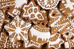 Cookies caseiros do Natal como o fundo Fotografia de Stock Royalty Free