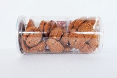 Cookies in cear bowl. Almond & chocolate chip cookies. Stock Photos
