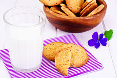 Cookies Cereal with Milk Stock Photo