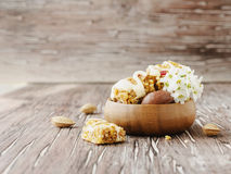 Cookies of cereals with fruit and nuts Royalty Free Stock Image