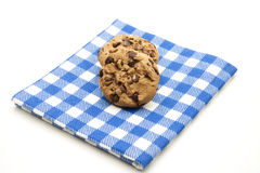 Cookies on checked table cloth Stock Photo