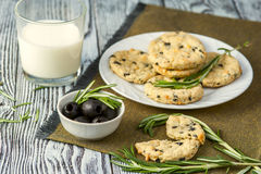Cookies with cheese, olives and rosemary Stock Photography