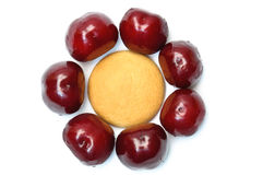 Cookies with cherries around Royalty Free Stock Photo
