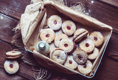 Cookies with cherry filling in the box Stock Photography