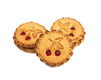 Cookies with cherry jam royalty free stock photo