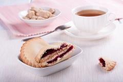 Cookies with cherry jam stock photo