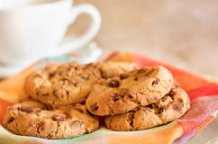 Cookies with chocolate. Homemade cookies with chocolate and coffee Royalty Free Stock Images