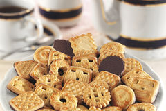 Cookies with chocolate. On white pate Stock Photo
